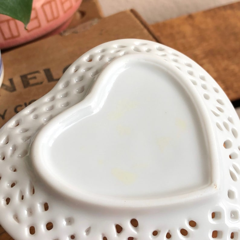 Heart Plate White Tray Ring Dish Cut Out Vintage Vanity Jewelry Ceramic