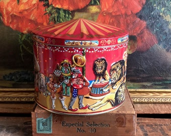 Circus Tin Round Big Top Lid Red Cookie Tin Vintage Distressed Lions Clowns Horses