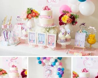 DIGITAL FILES Unicorn Party Decorations, Unicorn Birthday Party Decor, Unicorn Party, Unicorn Party Kit, Girl Birthday Theme, PDF files