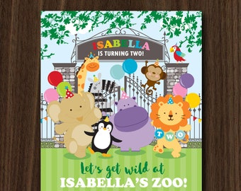 DIGITAL FILE Zoo Invite, Zoo Invitation, Zoo Theme, Zoo Birthday, Zoo Party Invitation, Zoo Theme 5x7 inches