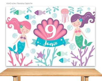 DIGITAL FILE Mermaid Birthday Backdrop, Mermaid Theme Banner, Mermaid Decoration, Under the Sea Birthday Party 60x40 inches