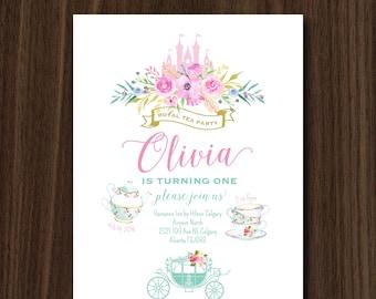 DIGITAL FILE Royal Tea Party Princess Birthday Invitation,Princess Tea Party Theme Invite, Royal Party, Princess Birthday, 5x7 inch