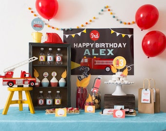 DIGITAL FILES Firetruck Party Decorations, Firetruck Birthday Party Decor, Fireman Party, Boy Birthday, DIY Party Collection Party Kit