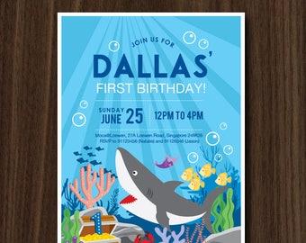 DIGITAL FILE Shark Invitation, Shark Under the Sea Invite, Shark Birthday Party Invitation, Ocean Birthday, Digital File 5x7 Inches