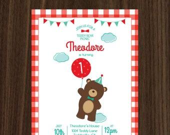 DIGITAL FILE Teddy Bear Picnic Invitation Teddy Bear Birthday Bear Birthday Invite