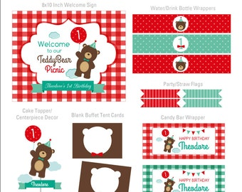 DIGITAL FILES Teddy Bear Party Decorations, Teddy Bear Birthday Party Decor, Teddy Bear Picnic Printables, Teddy Bear Party Kit, Party Kit