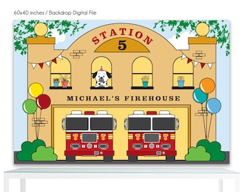 DIGITAL FILE Fire Station Backdrop Birthday Printable Banner Backdrop 60x40 inches, Fire Truck Fireman Backdrop Poster