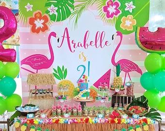 DIGITAL FILE Backdrop Poster: Flamingo Hawaiian Birthday Printable Banner Backdrop 84x72 inches, Flamingo Party, Flamingo Poster