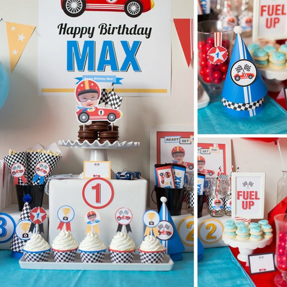 DIGITAL FILES Race Car Party Decorations Birthday Photo Kit Theme Cars Collection