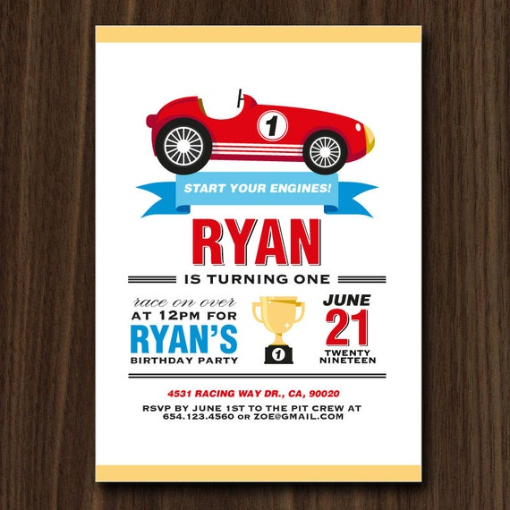 DIGITAL FILE Race Car Invite Invitation Cars Vintage Birthday Party Printables