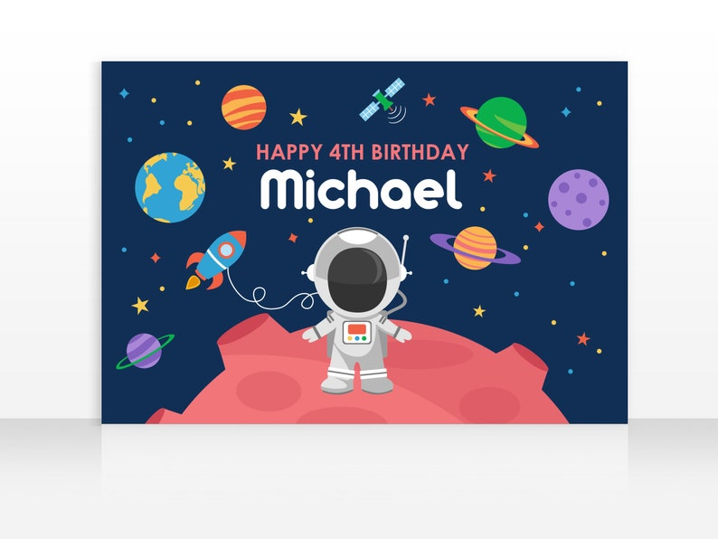 DIGITAL FILE Backdrop Poster: Space Birthday Party Printable image 0