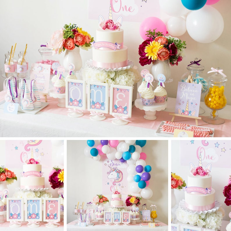 DIGITAL FILES Unicorn Party Decorations Birthday