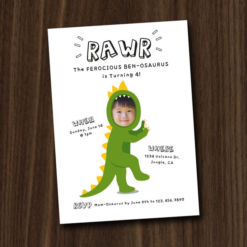 DIGITAL FILE Dinosaur Invite Dinosaur Invitation Printable image 0