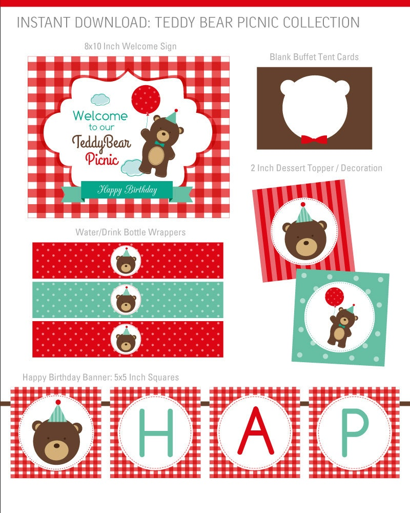DIGITAL FILES Teddy Bear Picnic Party Collection DIY Party   Etsy