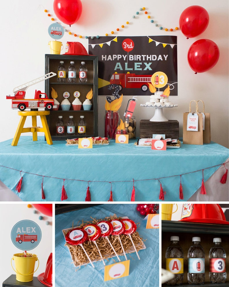 Digital Files Firetruck Party Decorations Firetruck Birthday Etsy