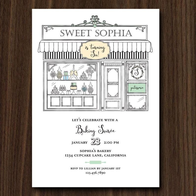 DIGITAL FILE Paris Cafe Bakery Birthday Invitation French image 0