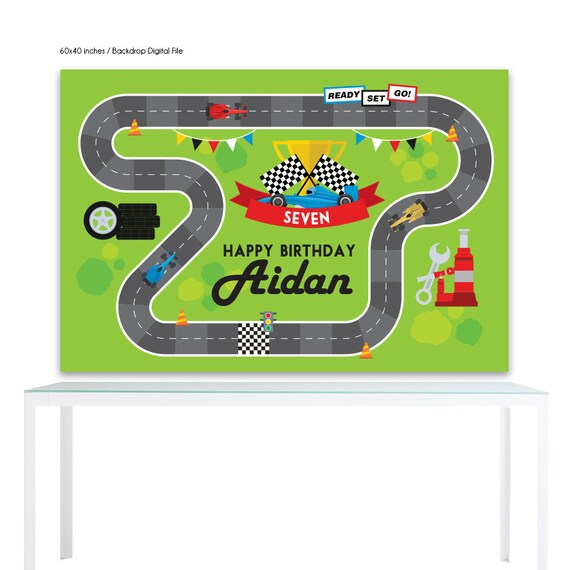 image relating to Race Track Printable identified as Electronic History Backdrop Poster: Race Keep track of Birthday Printable