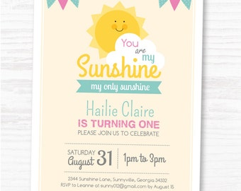 DIGITAL FILE You Are My Sunshine Invite, Customized Sunshine Birthday DIY Party Invitation by MayDetails