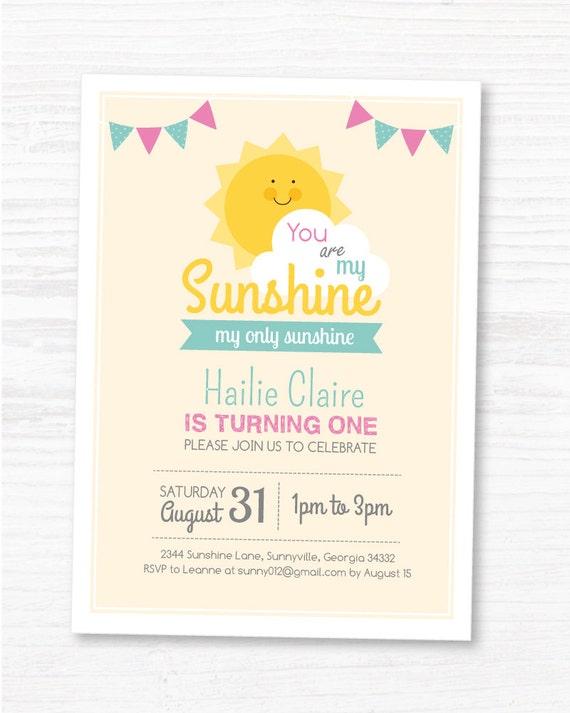 Digital File You Are My Sunshine Invite Customized Sunshine Etsy