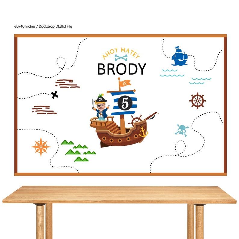 DIGITAL FILE Pirate Birthday Pirate Theme  Pirate Banner image 0
