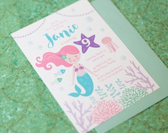 DIGITAL FILE Mermaid Invitation, Mermaid Invite, Mermaid Party, Mermaid Birthday, 5x7 inch