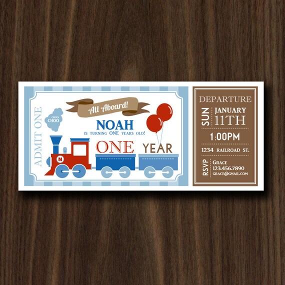 DIGITAL FILE Train Ticket Invitation Birthday Party Vintage 4x9in