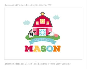 DIGITAL FILE Red Farm, Barn Backdrop Poster, Farm Animals Large Scale Banner Backdrop, Dessert Table Backdrop, 60x40 inches