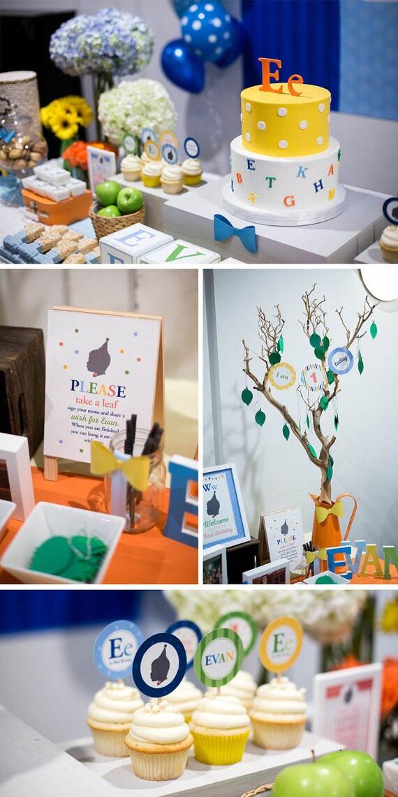 DIGITAL FILES Little Man Party Decorations Abc Birthday Decor Custom Silhouette ABC Alphabet Bowtie