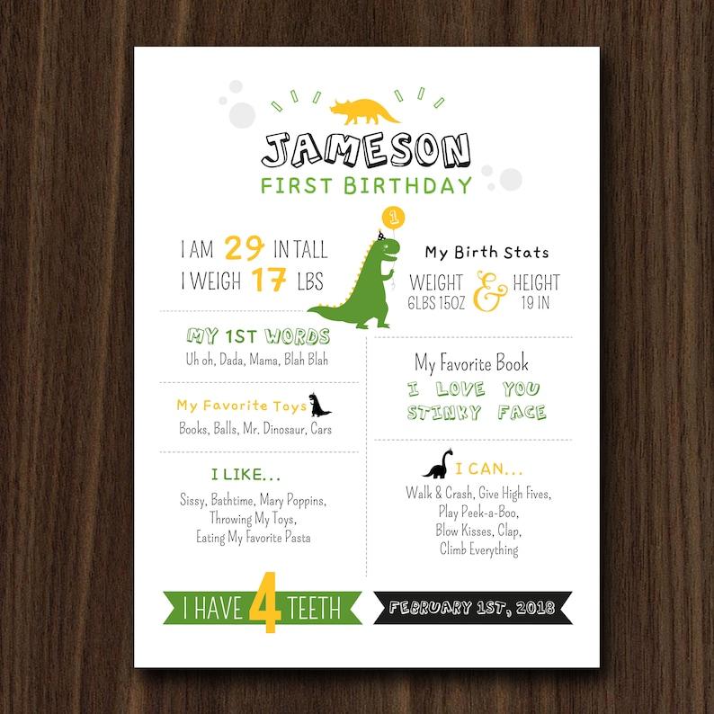 DIGITAL FILE Dinosaur Stats Birthday Printable Birthday Stats image 0