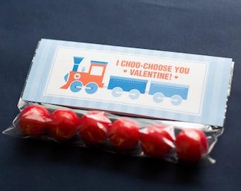 DIGITAL FILE Printable Valentine's Day Treat Topper Classmate Gift, Train Valentine's Day Card, Choo Choo Train Classroom Valentine