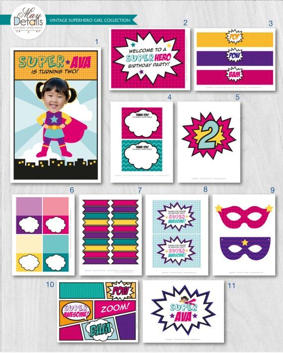 DIGITAL FILES Superhero Party Decorations Birthday Decor Supergirl Your Custom Photo