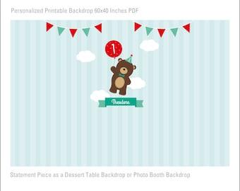 DIGITAL FILE Teddy Bear Picnic Printable Banner Backdrop Woodland Large Scale Backdrop, Teddy Bear Birthday Backdrop