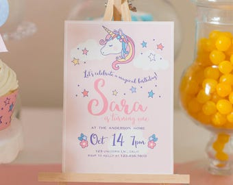 DIGITAL FILE Unicorn Invite, Unicorn Invitation, Unicorn Party, Unicorn Birthday, Unicorn decor, Unicorn decoration, PDF file