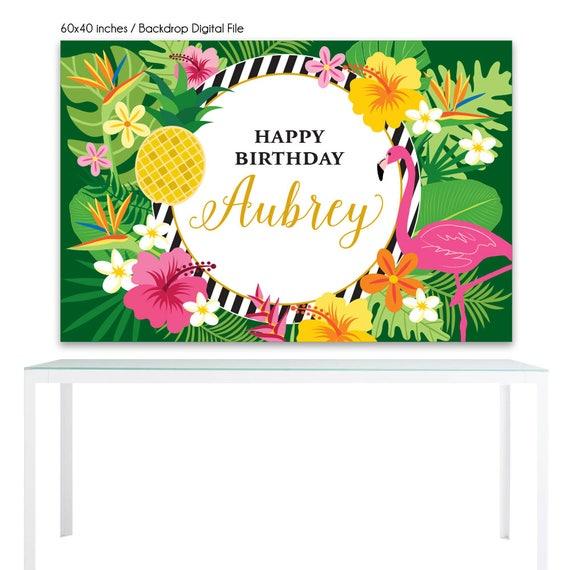 digital file backdrop poster flamingo hawaiian birthday printable