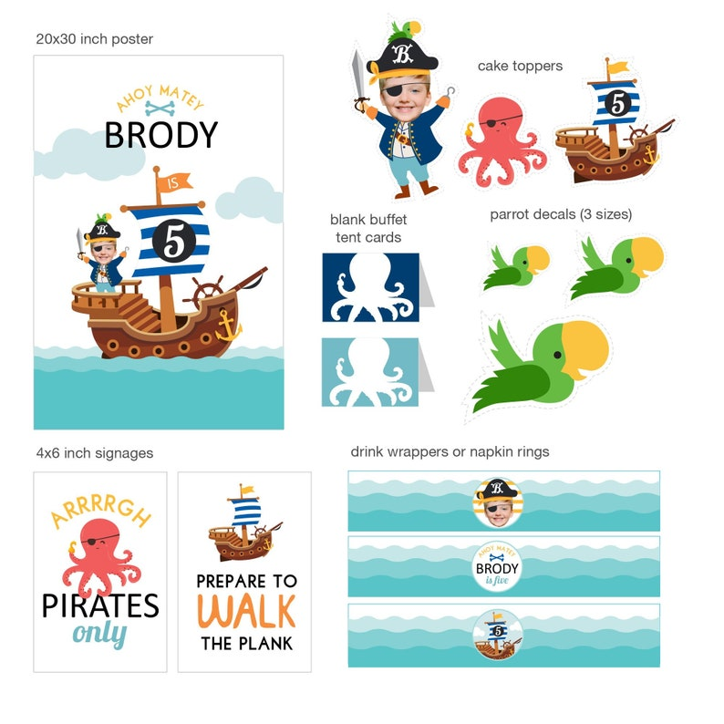 DIGITAL FILES Pirate Party Decorations Pirate Birthday image 0