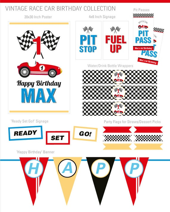 Digital Files Race Car Party Decorations Race Car Birthday Party