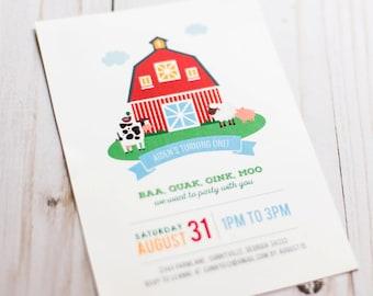 DIGITAL FILE Red Barn Farm Invite, Farm Invitation, Farm Animals Birthday, Barnyard Birthday Invite, 5x7 inches