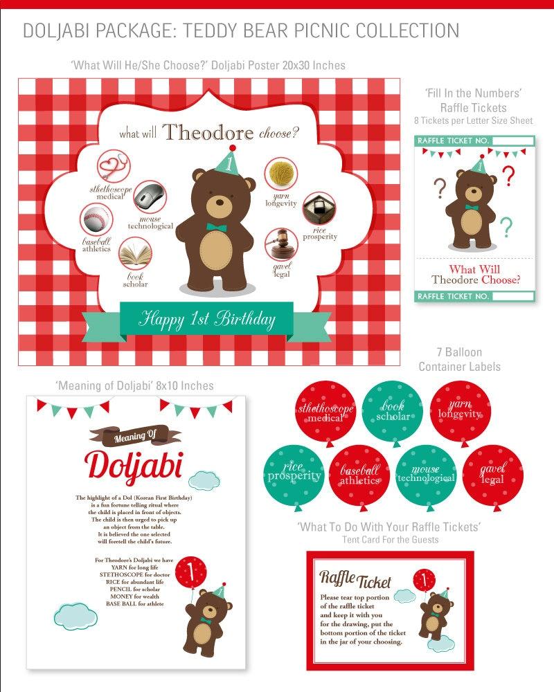 DIGITAL FILES Teddy Bear Picnic Doljabi Doljanchi Korean First   Etsy