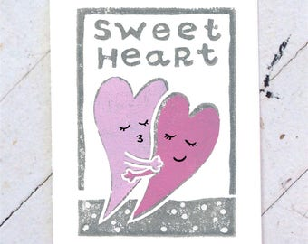 Sweetheart Valentine Hand Printed Card