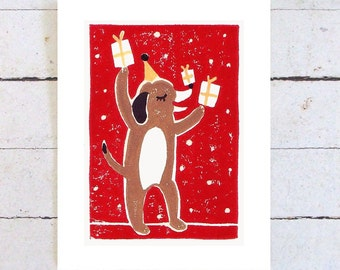 Beagle Birthday Card, hand printed in red
