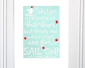 Graduation Card Ships are Safe at Harbor Hand Printed Linocut
