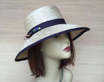 Natural Straw Hat, Women Straw Hat, Wide Brim Hat, Summer Hat, Hat with Beads, Sun Hat
