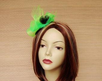 Bright Green Horsehair Fascinator, Crinoline Cocktail Hat,  Kentucky Derby Fascinator, Art Deco Fascinator
