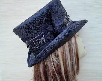 Black Straw Top Hat, Victorian Top Hat, Mad Hatter, Steampunk Hat, Alice in Wonderland, Women Top Hat, Kentucky Derby Hat