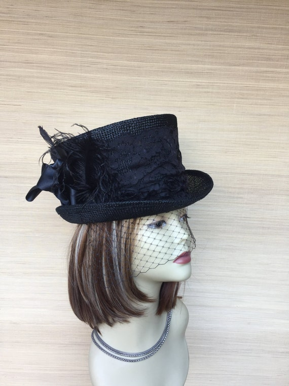 Black Straw Womens Top Hat with Veil Victorian Kentucky  294d93e065e
