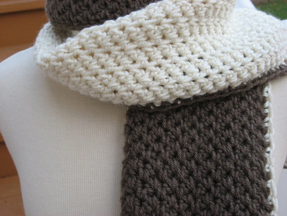 Hot Chocolate And Vanilla Swirl Hat And Scarf Combo Pattern Etsy