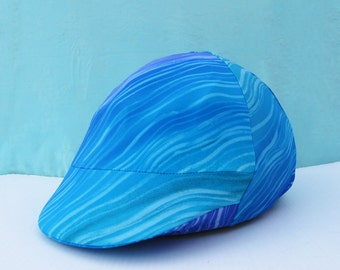 Equestrian Riding Helmet Cover - turquoise and purple shades -  curvy stripes - fits English or Western helmets