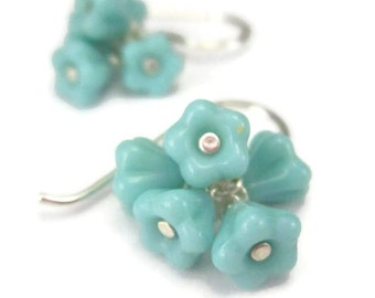 Tiny Flower Earrings in Sterling Silver and Turquoise Blue Glass Cluster Drops