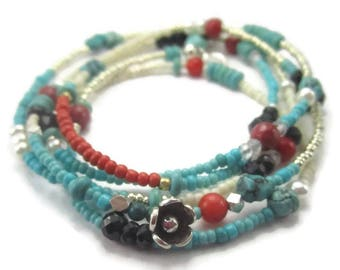 Long Turquoise Necklace or Sterling Silver Gemstone Wrap Bracelet with Flower Charm Southwestern