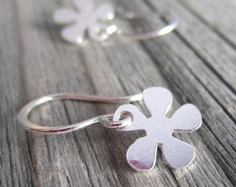 Tiny Flower Earrings in Sterling Silver with Small Daisy Dangle
